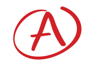 Letter A in red.