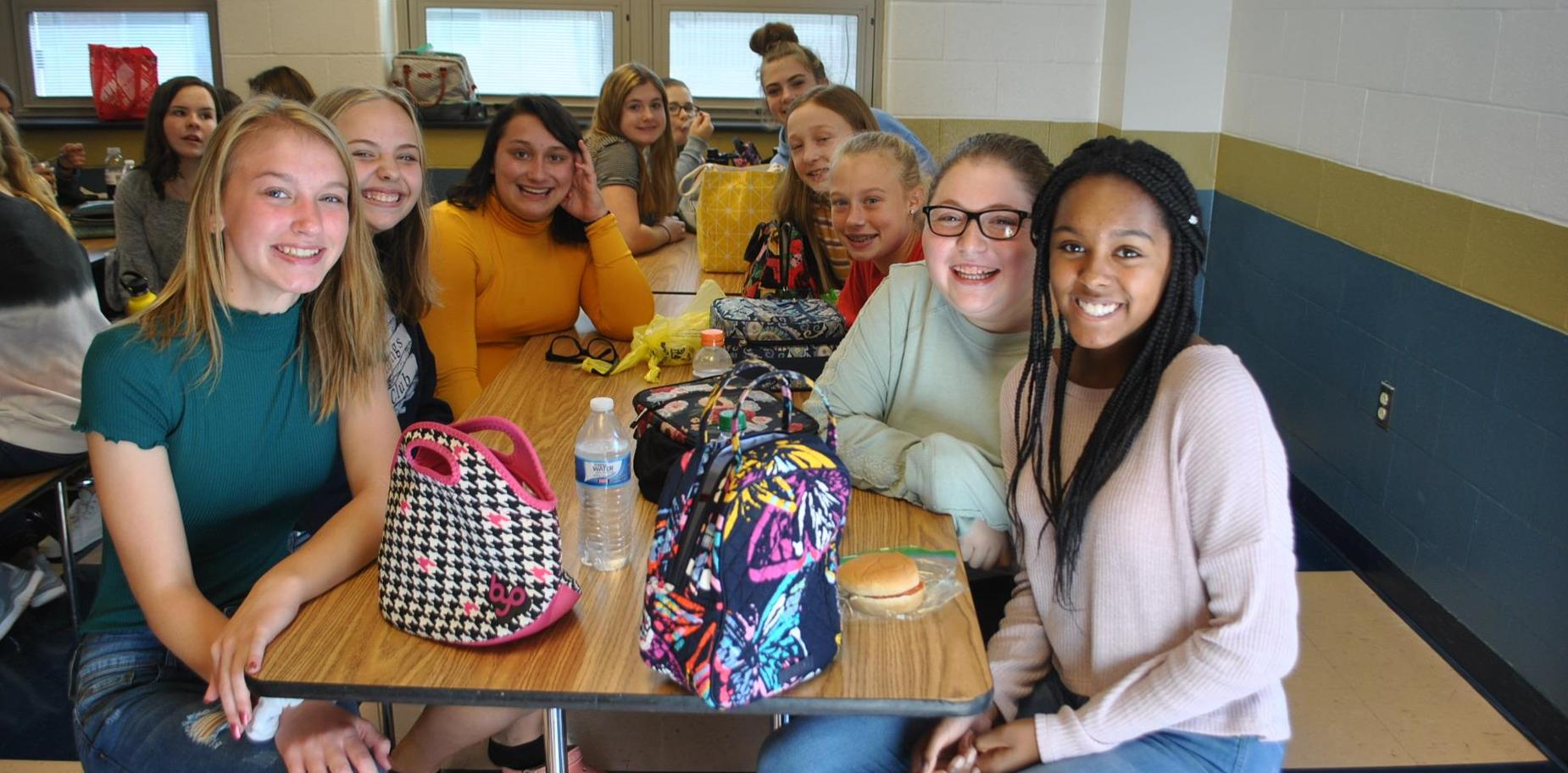 students in lunch room.