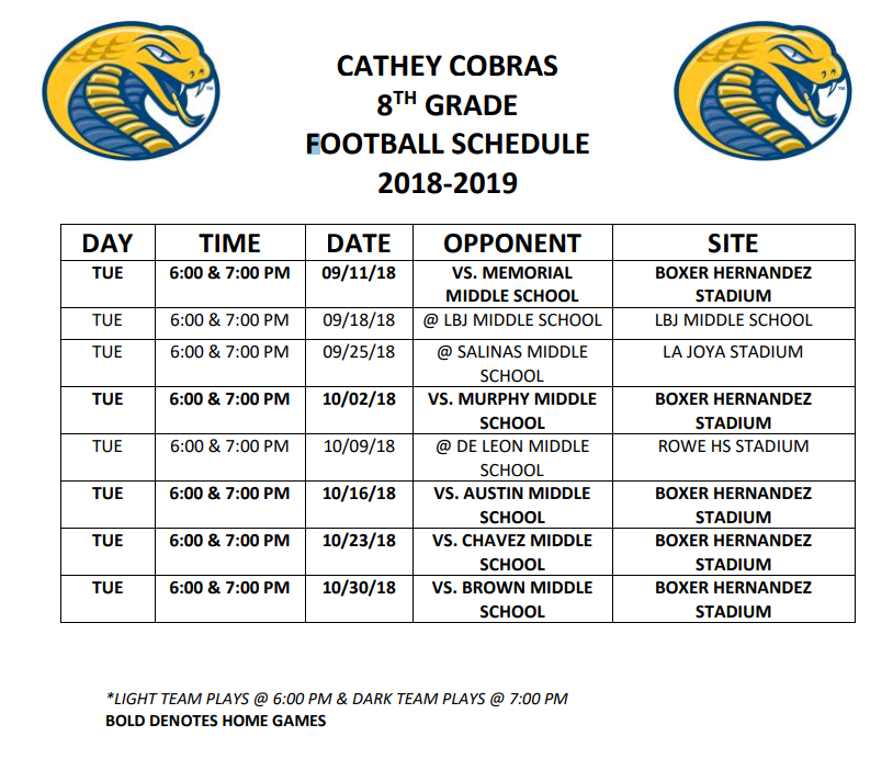 2018 - 2019 Cathey Middle School 8th Grade Football Schedule