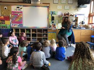 Dr. Bell reading to TK students