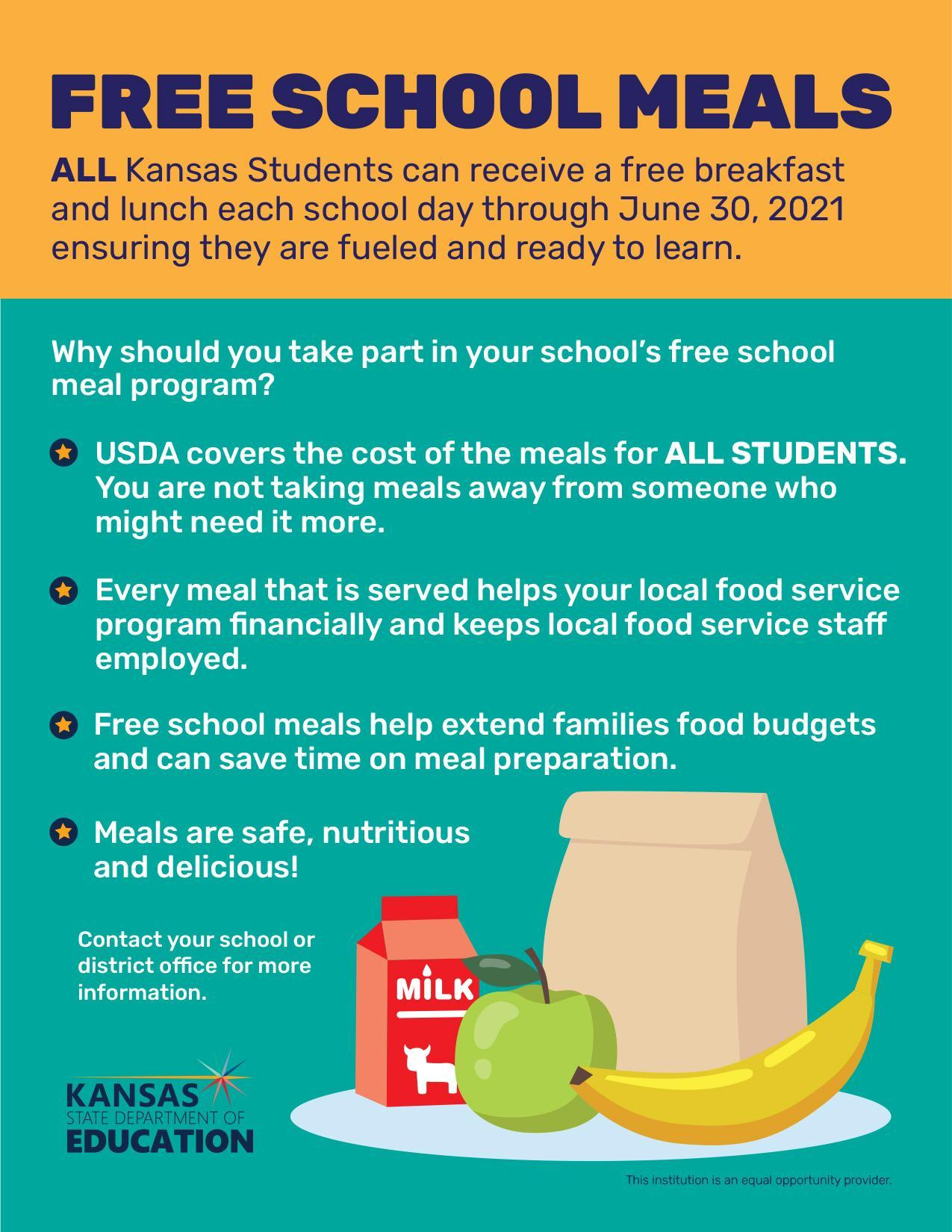 USDA FREE SCHOOL MEALS thru JUNE 2021