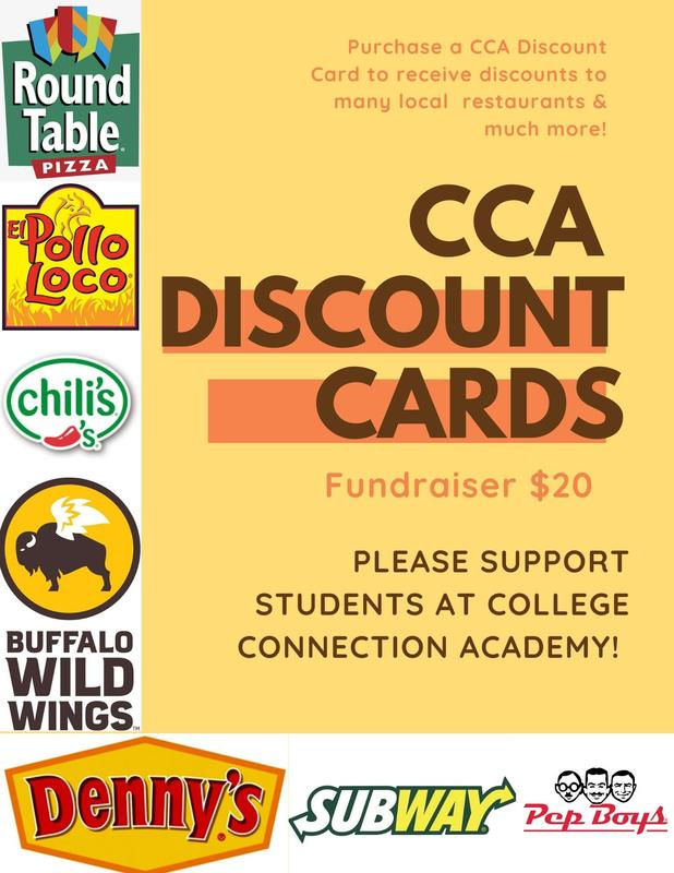 A flier for the CCA discount card fundraiser.