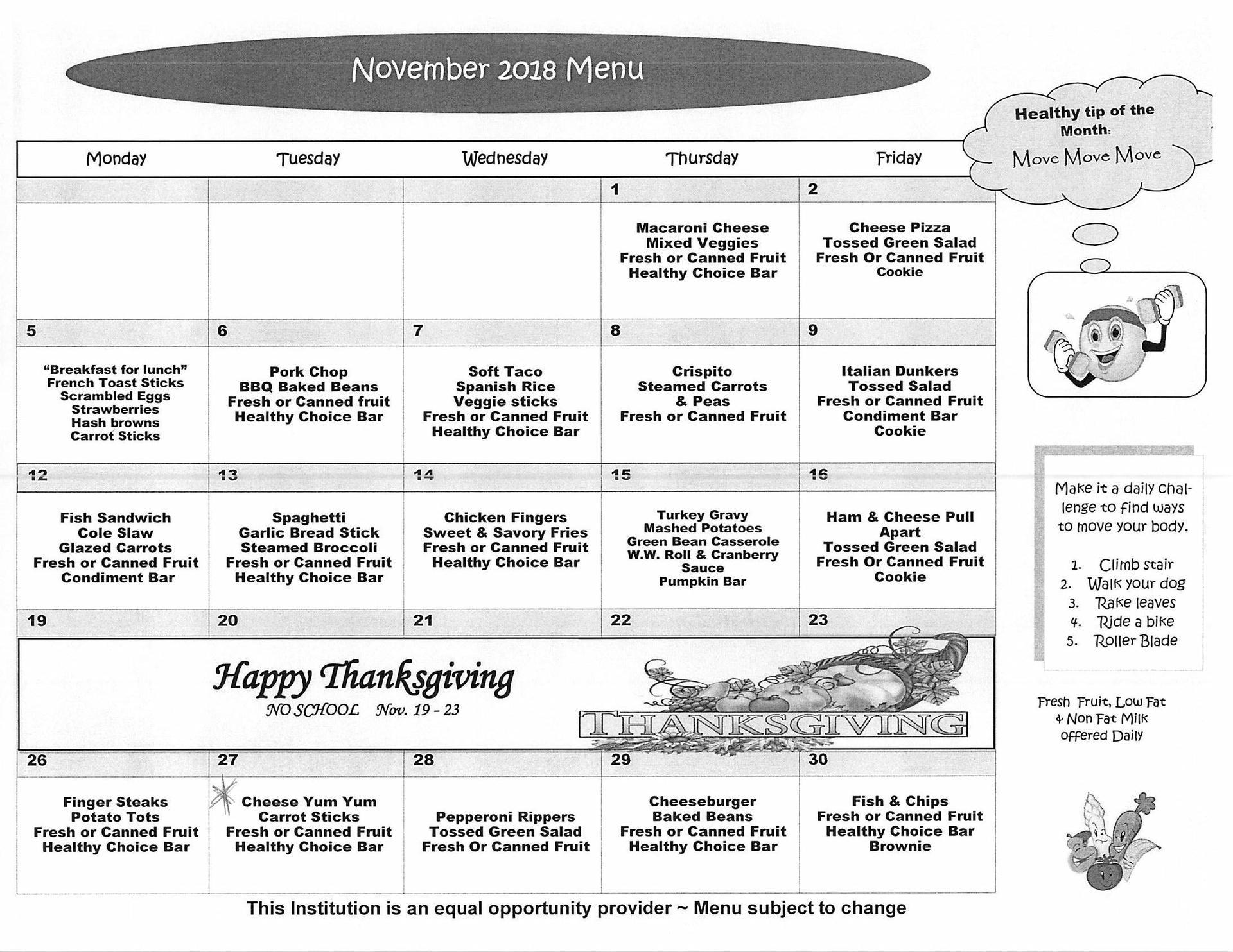 November 2018 Elementary Lunch Menu