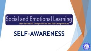 Screenshot of first graphic that reads:  Social and Emotional Learning - Self-Awareness.