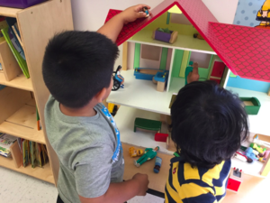 Students work together in cooperative play