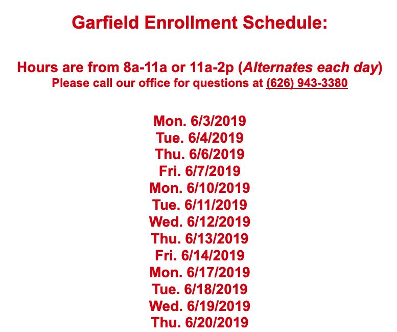Garfield Enrollment Schedule Featured Photo
