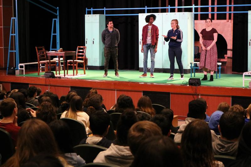 Members of the George Street Playhouse answer questions from 8th graders at Edison Intermediate School after performing Anytown, a powerful musical about opioid abuse and its impact on teens and families.