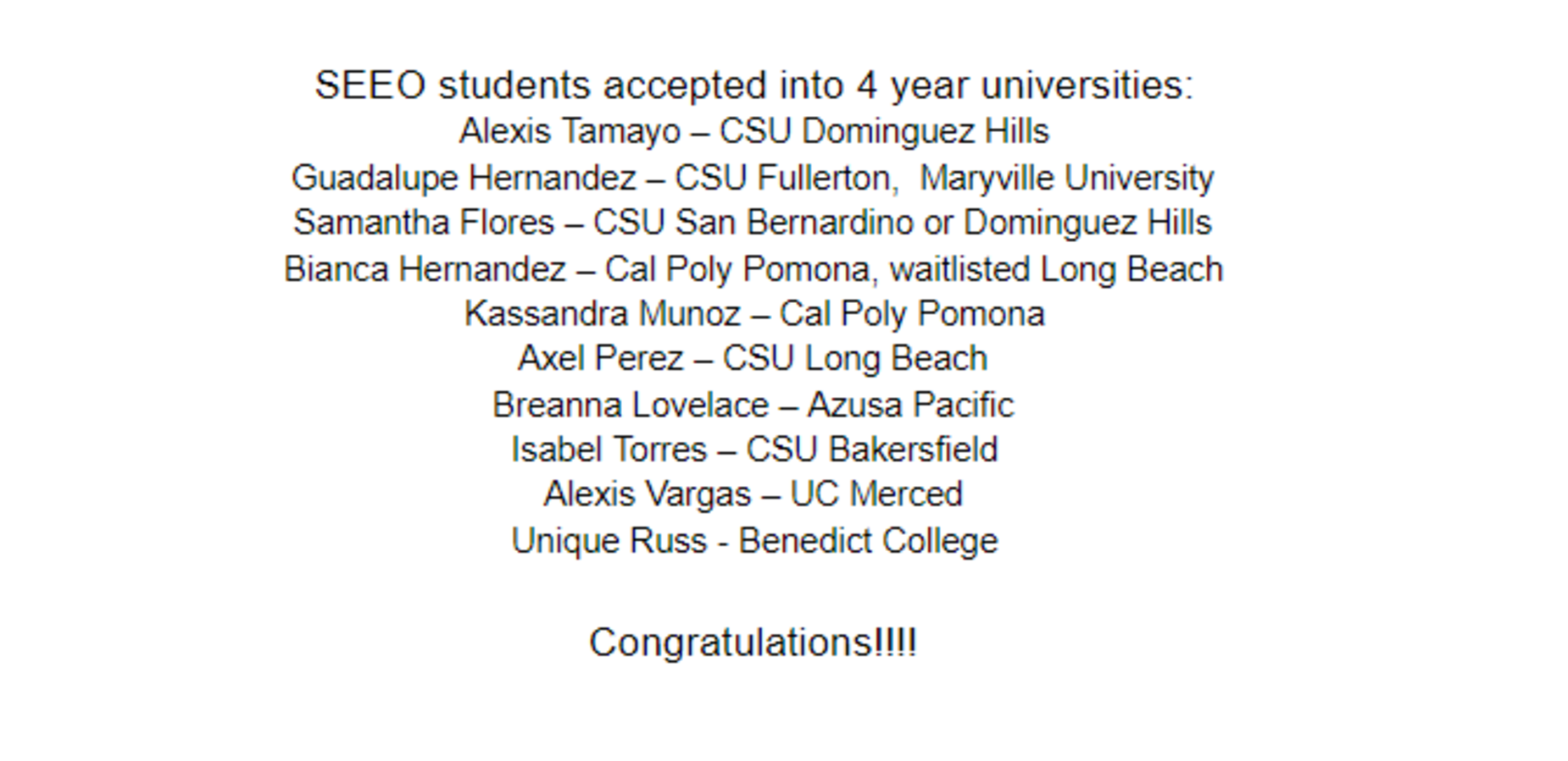 List of SEEO students who were accepted into universities