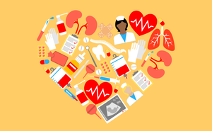 heart image made up of health items