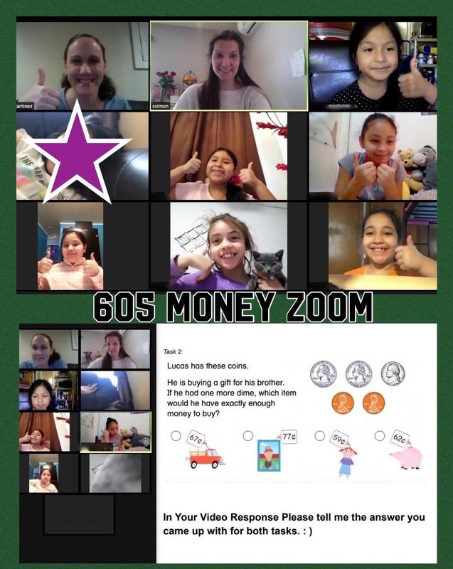Mrs. Martinez class counts money Zoom collage
