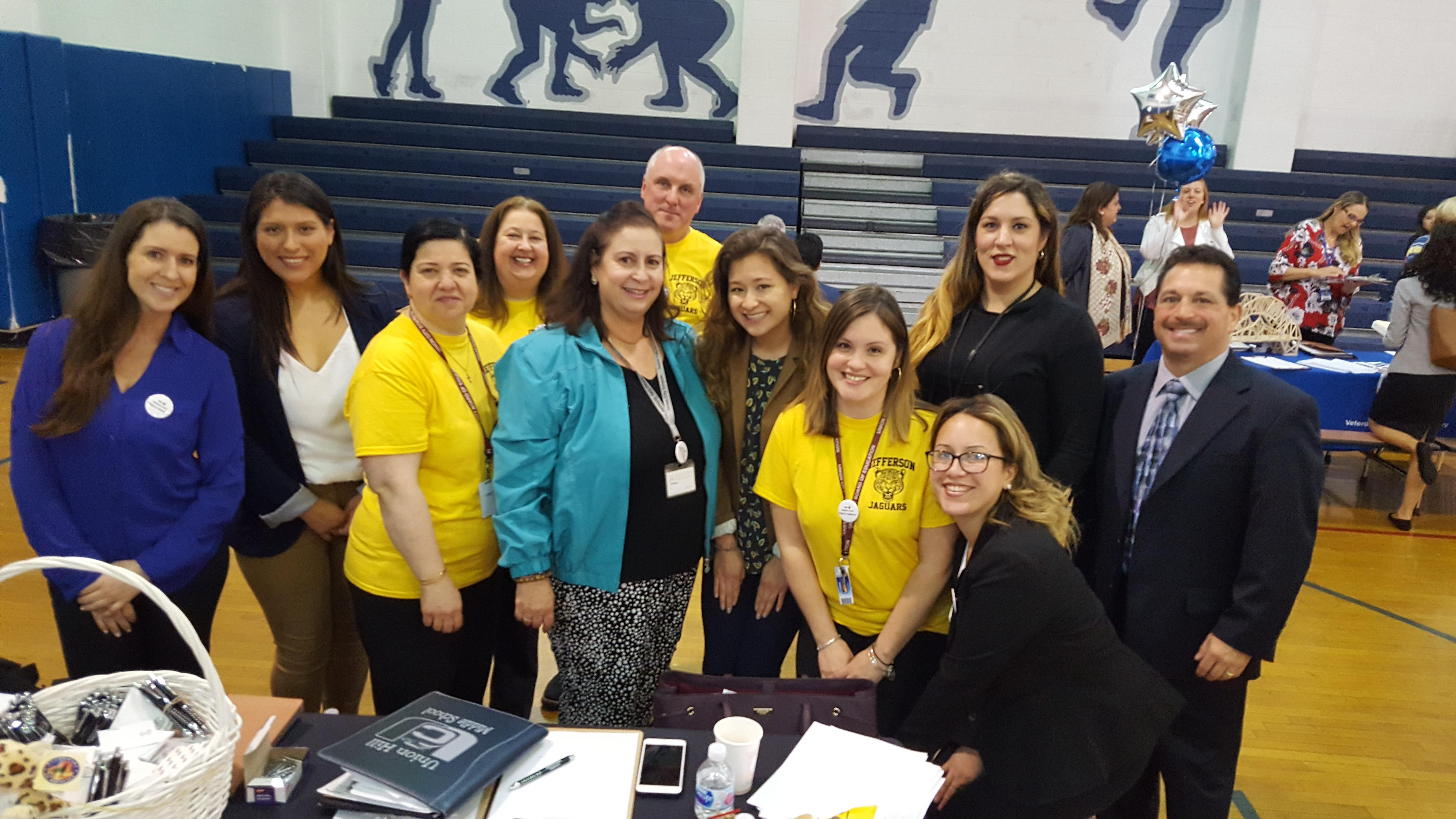 mrs abbato and the staff of jefferson at job fair 2
