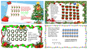Colorful Christmas themed math questions