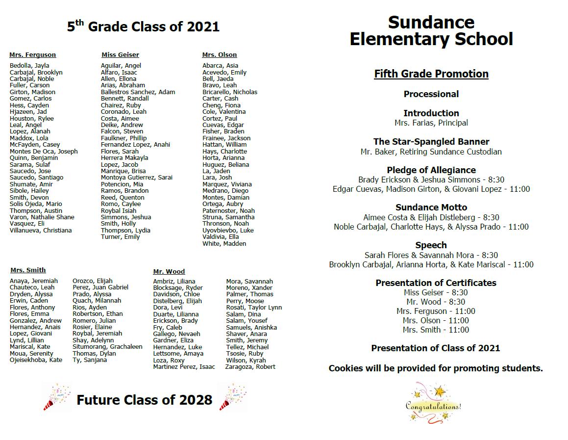 5th grade promotion inside