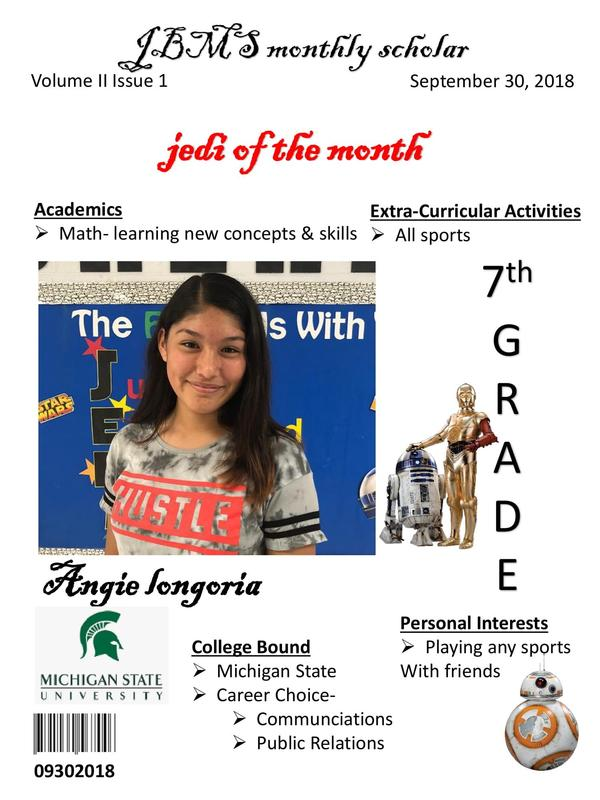 Congratulations to our JBMS student's of the Month. Featured Photo