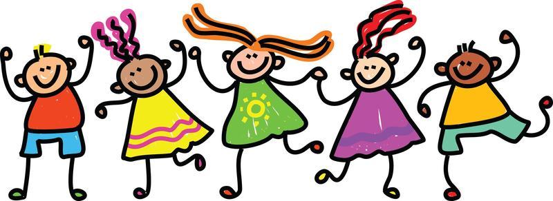 drawing of children waving