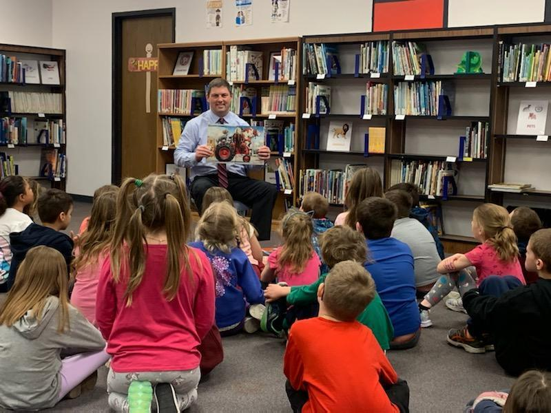 March Reading Month! Superintendent Robydek reading to Elementary students! Featured Photo