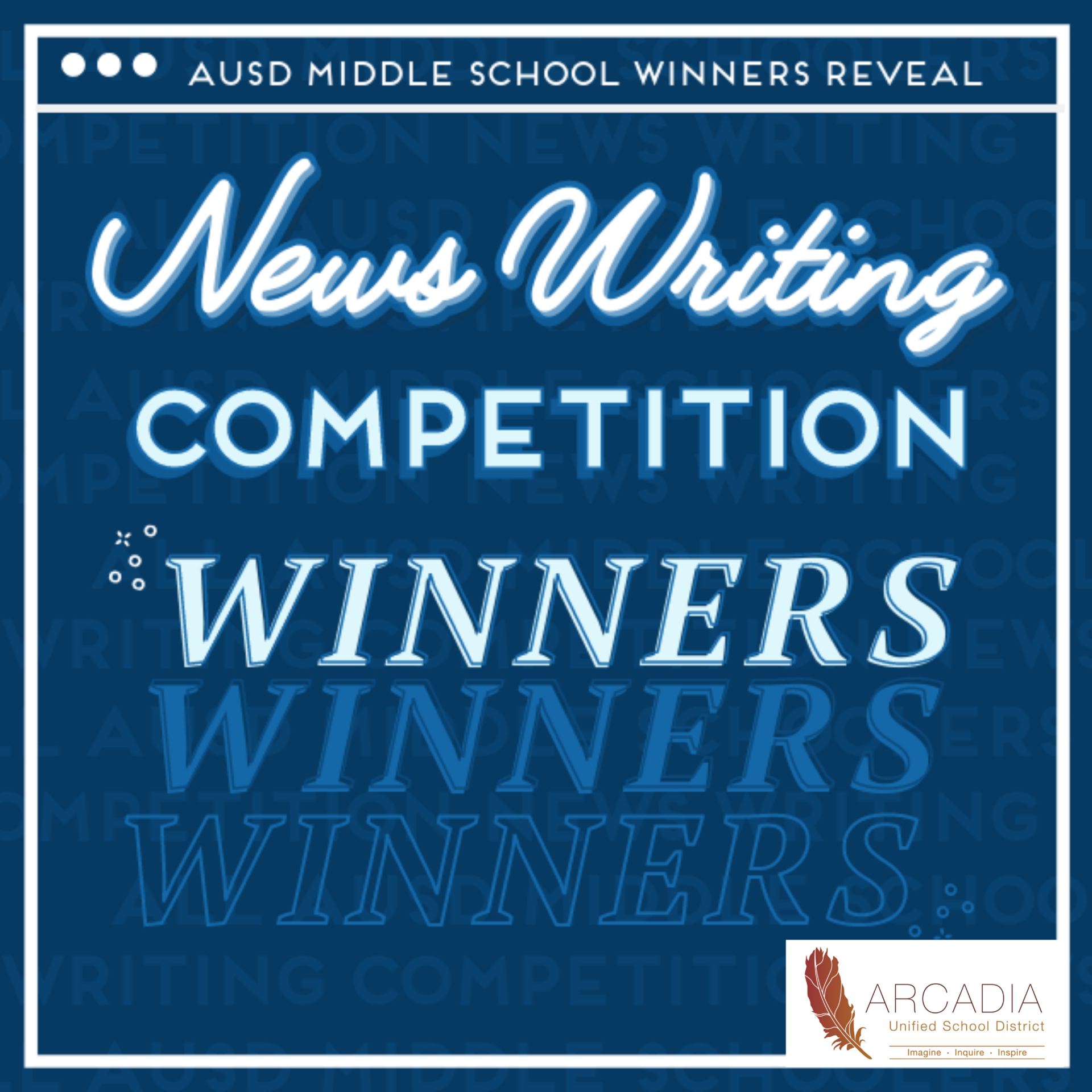 AUSD Middle School Writing Competition Winners Graphic