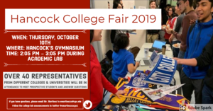Hancock College Fair on Thursday October 10, 2019 during Academic Lab in the school gym