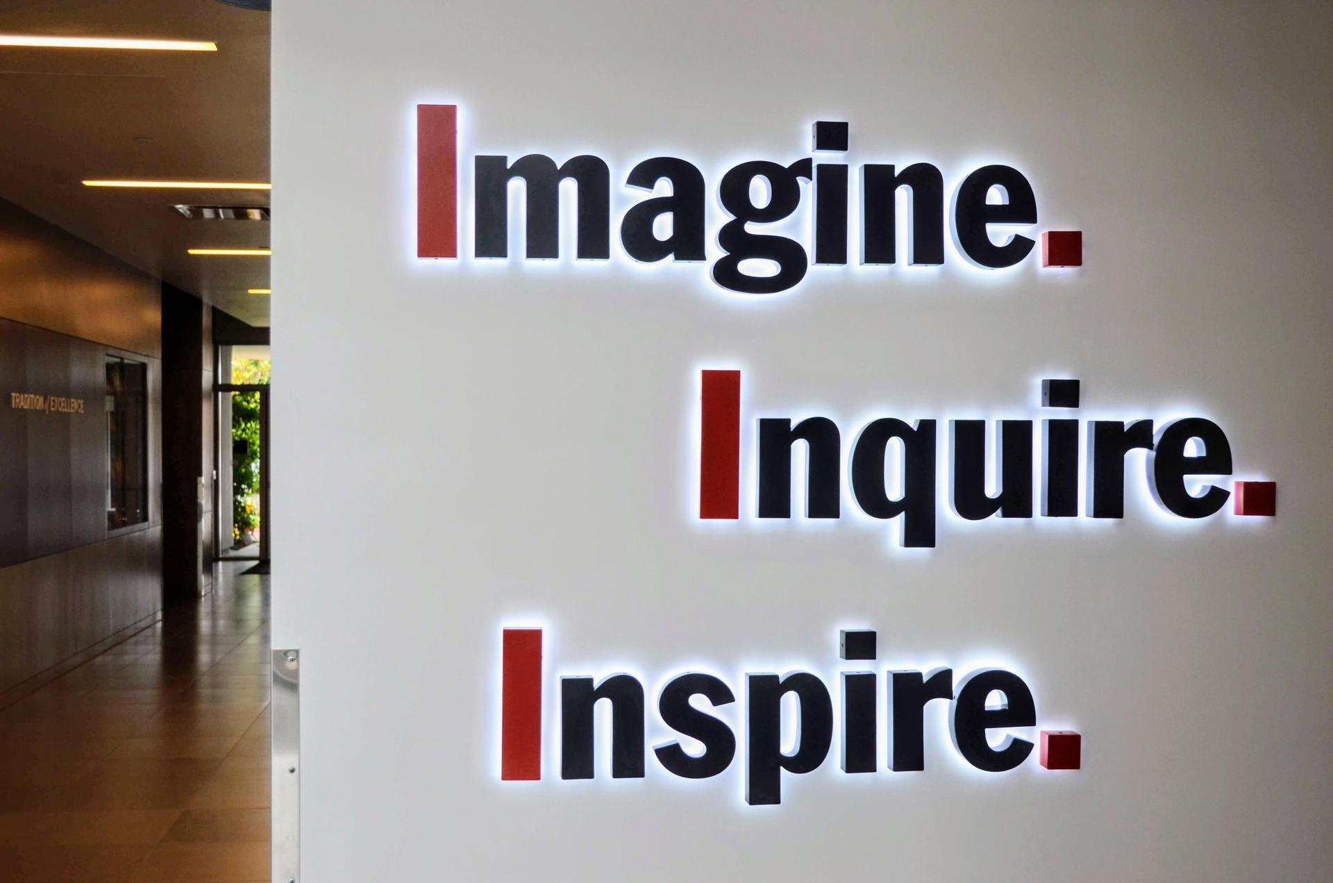 Imagine Inquire Inspire sign in the Arcadia Education Center