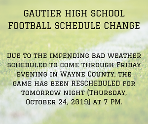 Due to the impending bad weather scheduled to come through Friday evening in Wayne County, the game has been rescheduled for tonight, Thursday, October 24, 2019 at 7 pm.