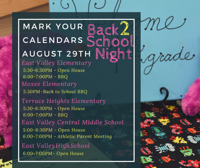 Back to school night digital flyer with dates and times - same information as listed in the body content.