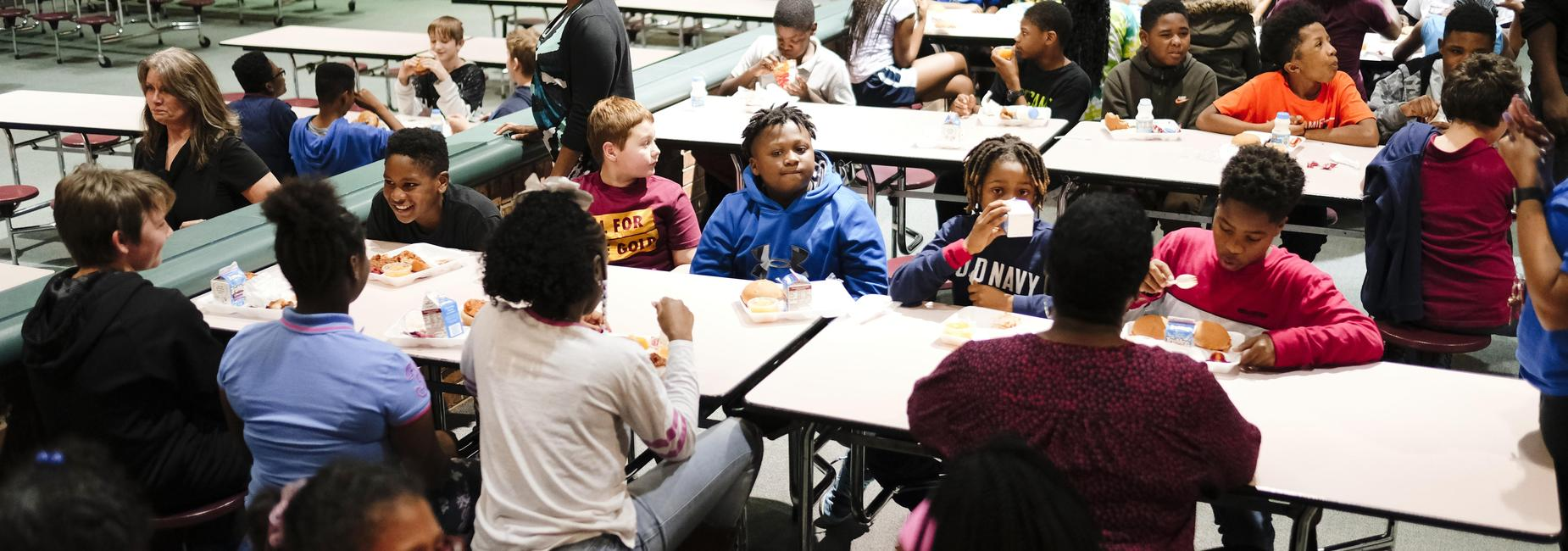 students in lunchroom
