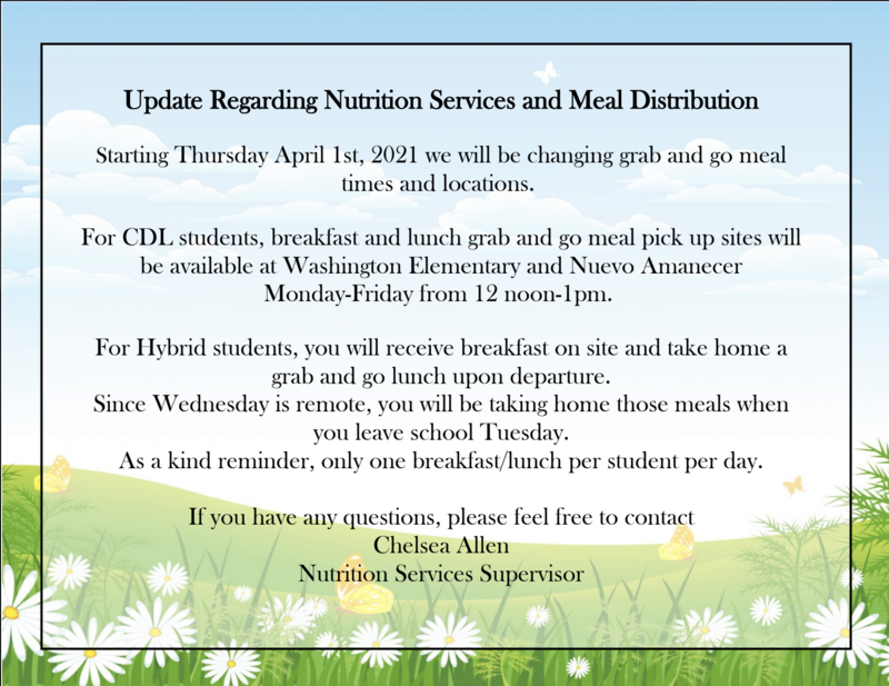 Update Regarding Nutrition Services and Meal Distribution Featured Photo