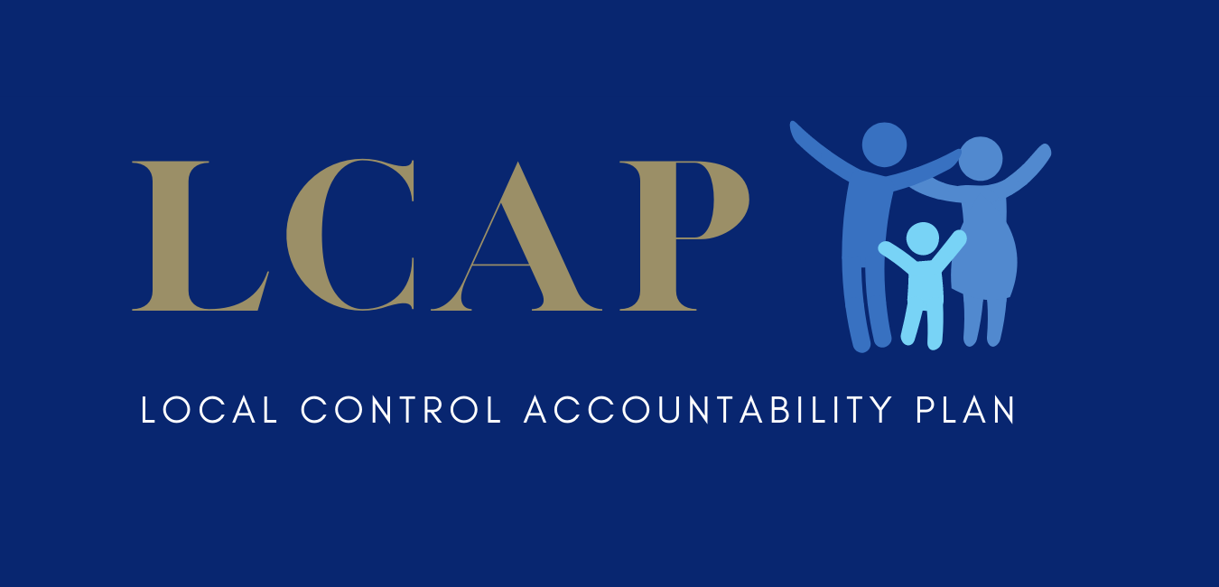 Blue and gold, LCAP Local Control Accountability Plan caption, with family stick figures in blue