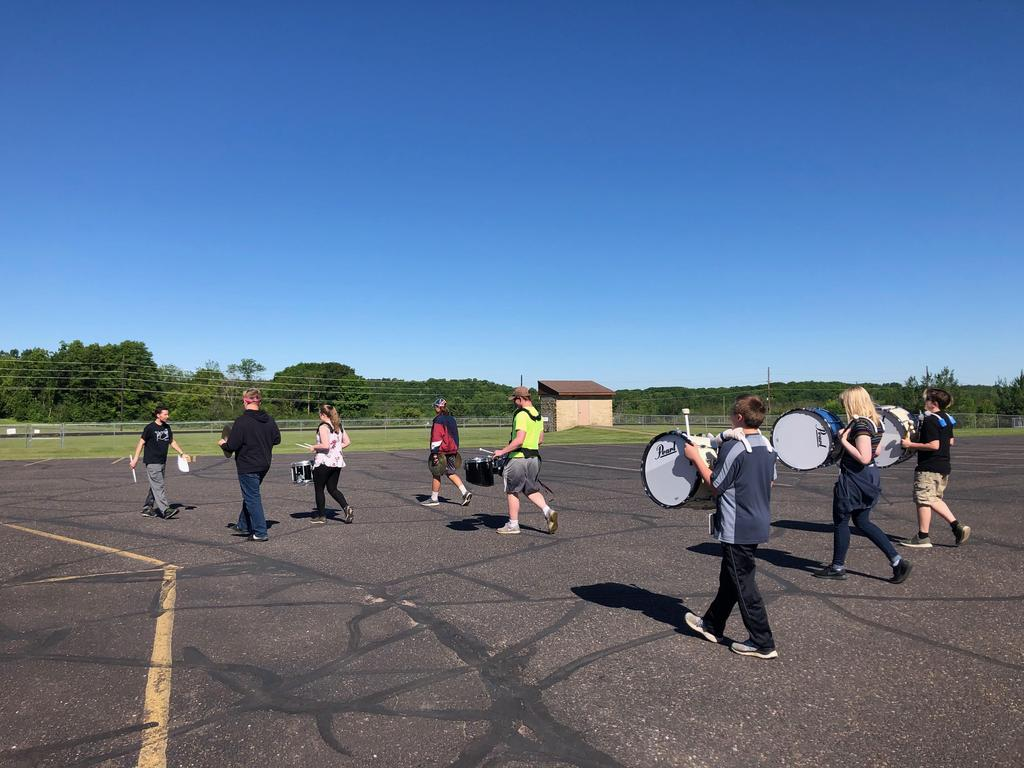 Marching in the parking lot