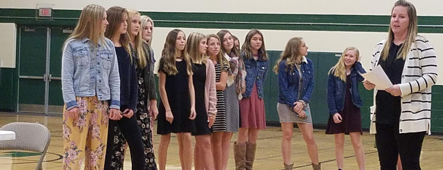 MS Volleyball Team Honored at Board Meeting