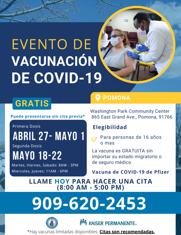 Vaccine at Washington image flyer Spanish text