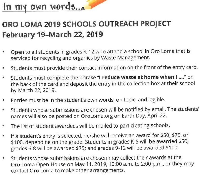 ORO LOMA  2019 SCHOOLS OUTREACH PROJECT Featured Photo