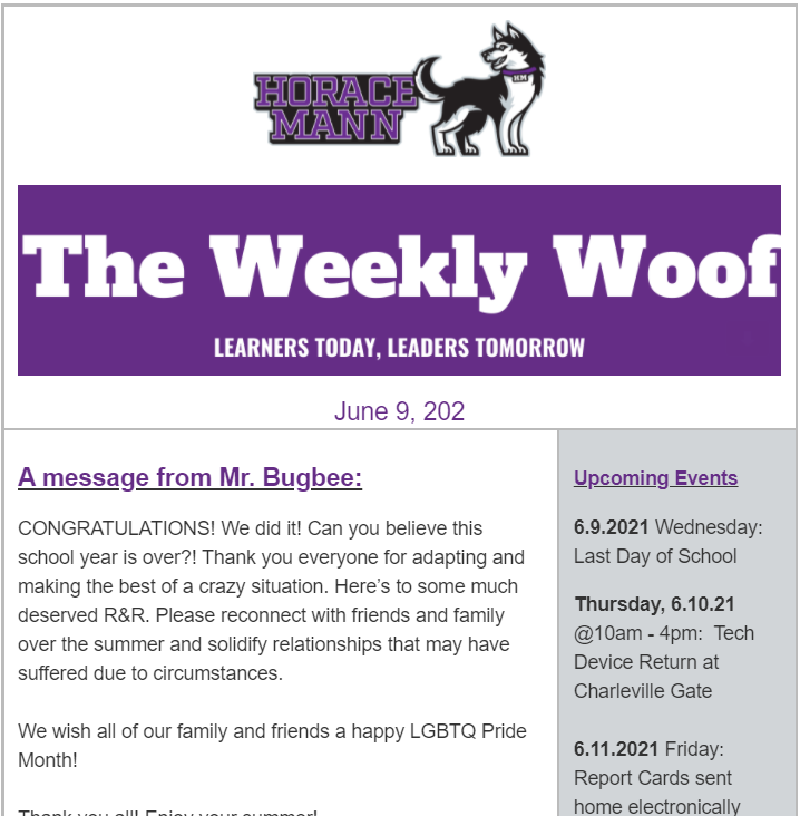The Weekly Woof Newsletter for the June 9, 2021 Featured Photo