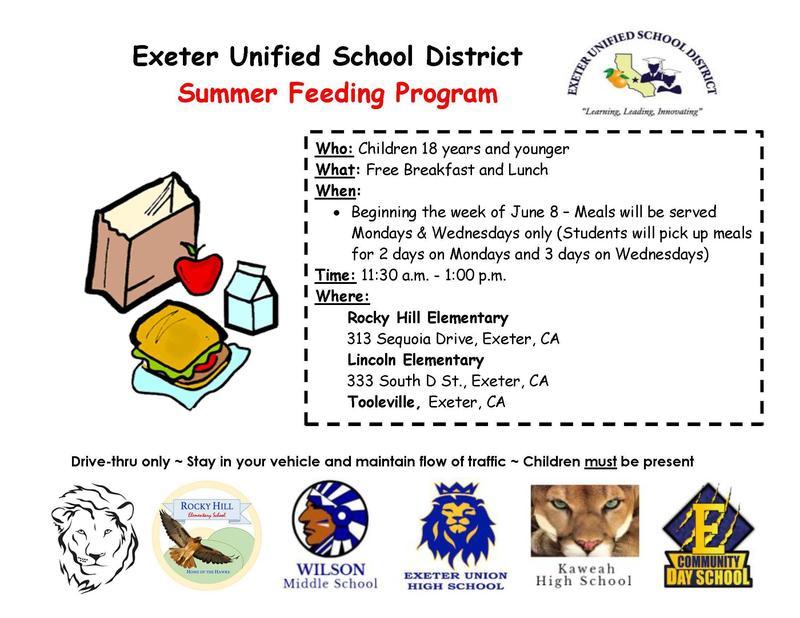 EUSD meal distribution schedule- summer feeding program 2020- English