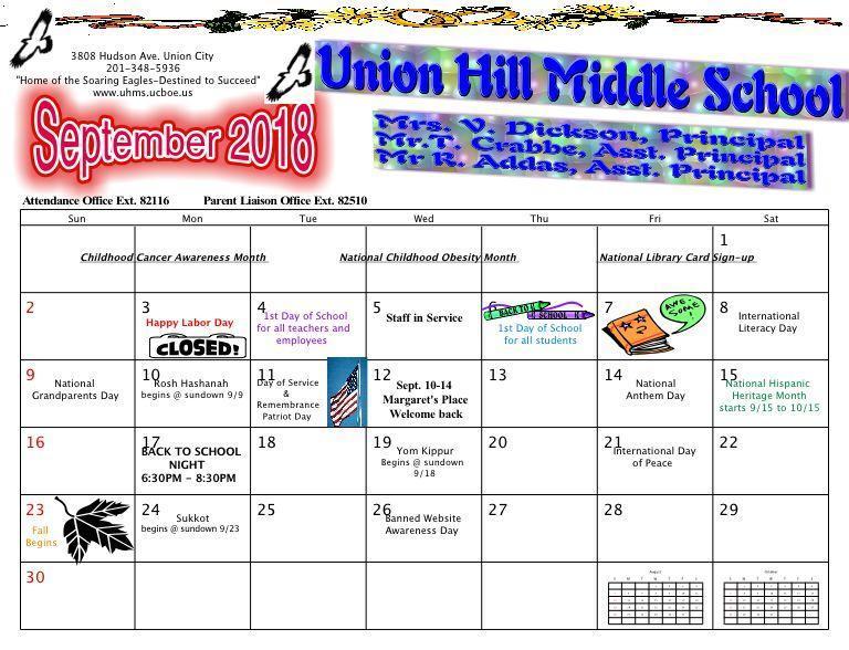 September UHMS Calendar