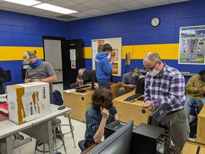 Randy Hollifield and students in Cyber Crime Lab