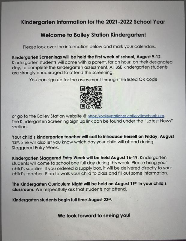 Kindergarten screening information and sign up
