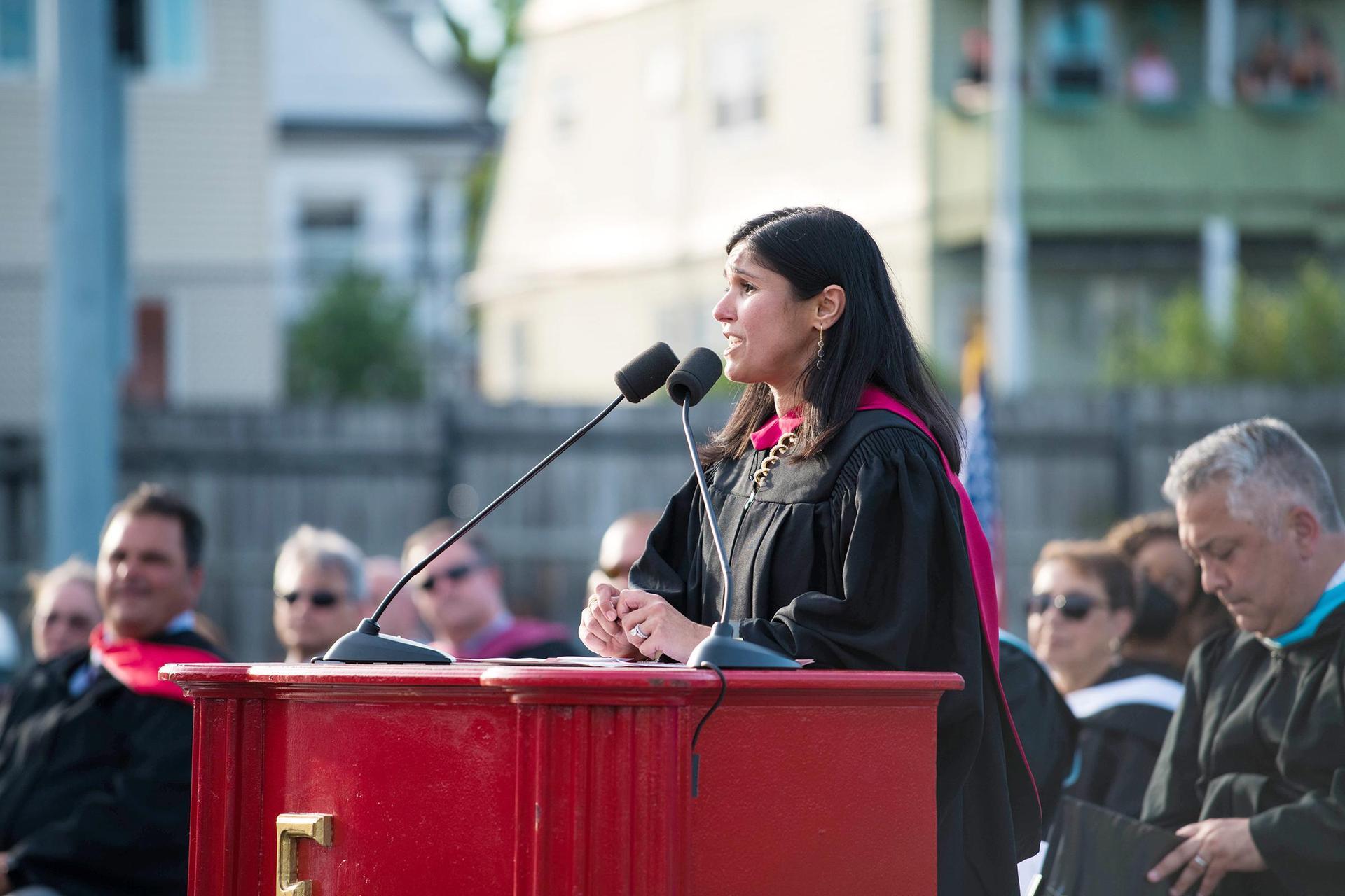 Superintendent Priya Tahiliani addresses the Class of 2021