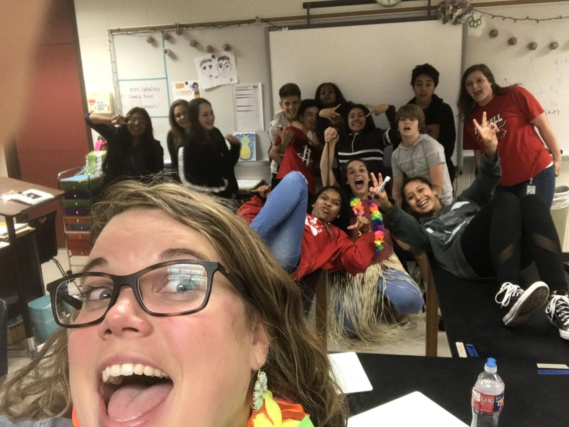 Mrs. Caballero's class after the great tornado drill of 2019!