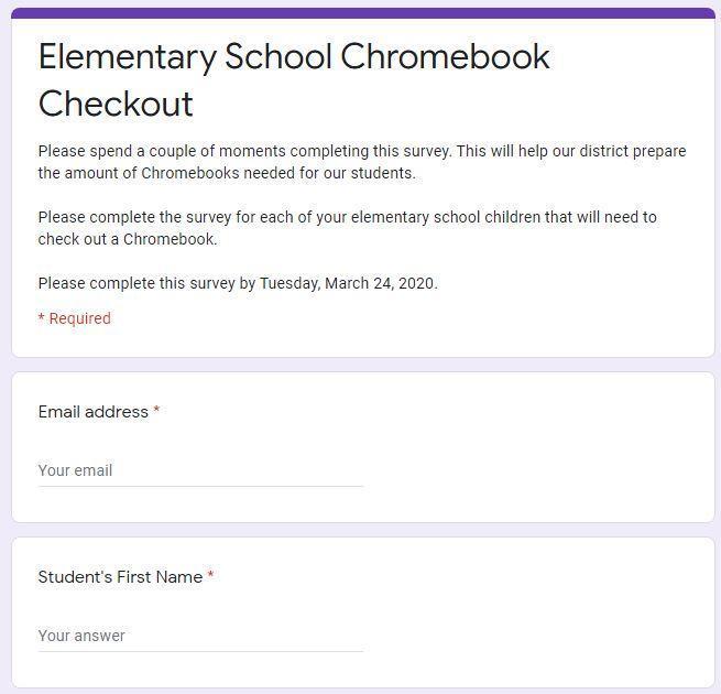 Screenshot of Chromebook survey