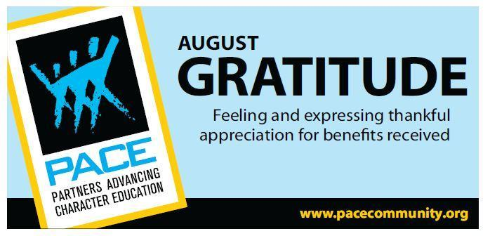 PACE Character Trait for August is Gratitude. Thumbnail Image