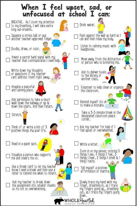 """When I feel upset, sad, or unfocused at school I can"" list"