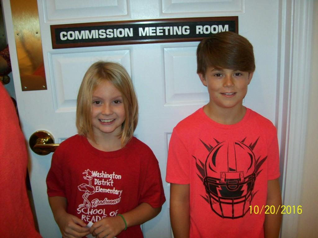 Red Ribbon Week Representatives Kyrianna Kimble and Easton Perkins visit a county Commission Meeting and a visit with the mayor.