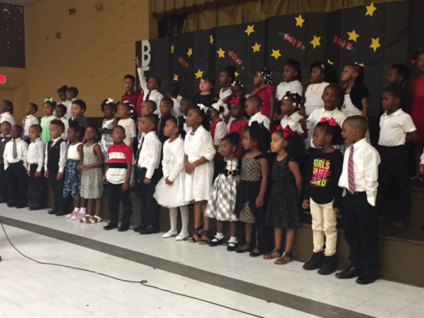 Photo of Pre K and Kindergarten Students in end of year awards program at Baker Heights Elementary School