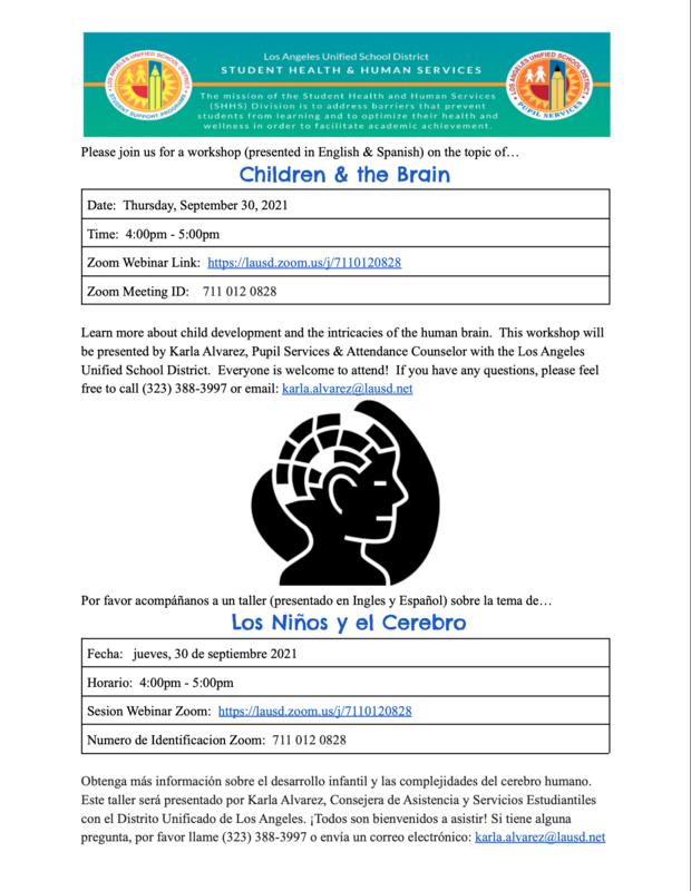 Workshop Children & the Brain, Taller Los Niños y el Cerebro Date: Thursday, September 30, 2021 Time: 4:00pm - 5:00pm Fecha: jueves, 30 de septiembre 2021 Horario: 4:00pm - 5:00pm Featured Photo