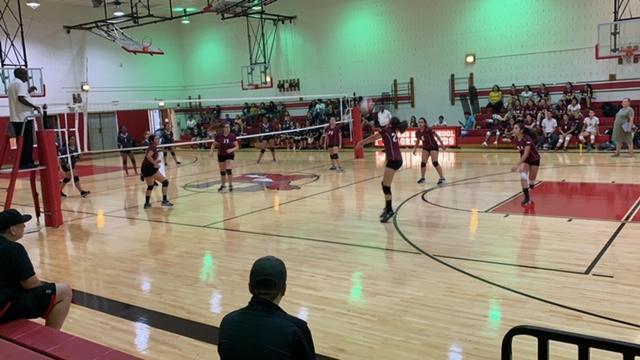 Girls Volleyball Action shot