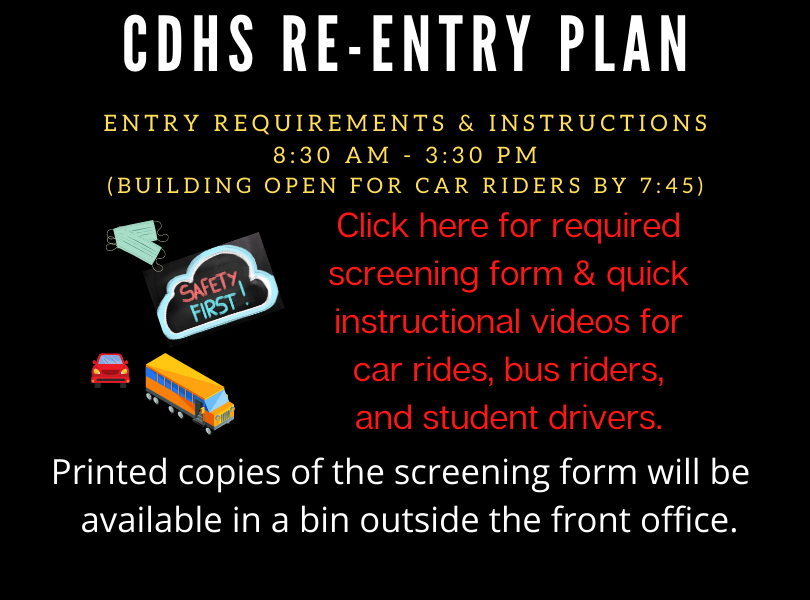 CDHS Re-entry Plan - Click for screening form & instructional videos on entering the building