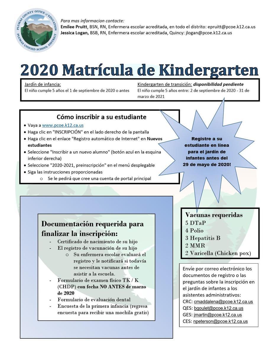 Kindergarten Enrollment - Spanish