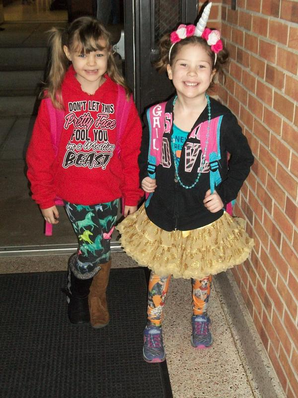 Students dressed up for Wacky Day.