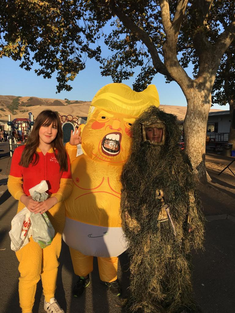 children dressed as winnie the pooh, Donald Trump and monster